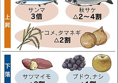 秋の味覚、出足は高め サンマ3倍・新米2割高  :日本経済新聞