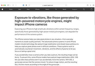 Apple、高出力のエンジンを搭載したバイクが発生する振動によりiPhoneカメラのOIS/AFシステムがダメージを受ける可能性があるとしてユーザーに警告。
