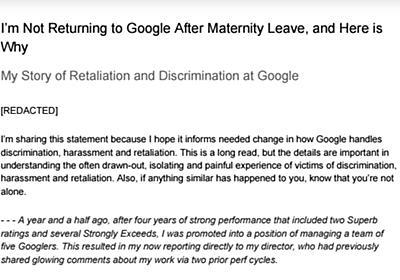 Google従業員、「妊婦は感情的になる」などの問題発言に対処しない人事部を社内メモで告発 - ITmedia NEWS