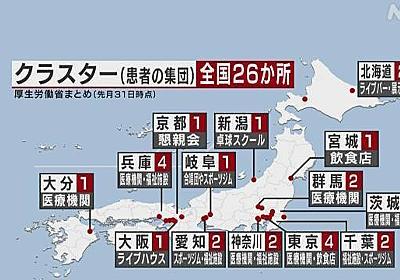 クラスター 14都道府県の26か所で発生 新型コロナ | NHKニュース