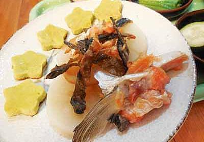 鮭皮のパリパリ焼き大根添え - めのキッチンの美味しい生活