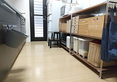 無印のユニットシェルフ(突板)で作るキッチン収納/ウォールナットで自然の味わいを楽しむ - gu-gu-life