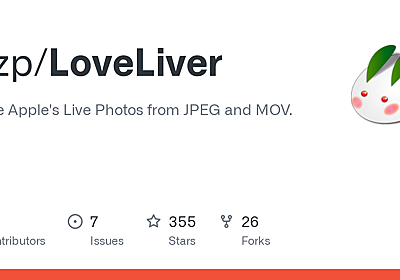 GitHub - mzp/LoveLiver: Create Apple's Live Photos from JPEG and MOV.