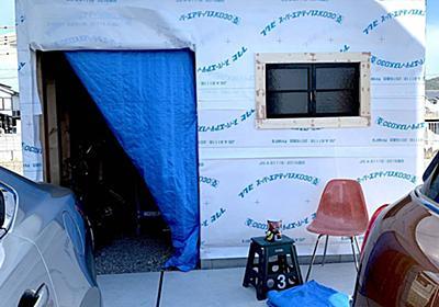 <庭プロジェクト>小屋工房製作18塗り壁開始前夜。窓の取り付けと隙間コーキング - My Midcentury Scandinavian home 〜北欧ミッドセンチュリーの家〜
