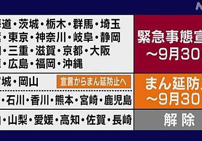 緊急事態宣言延長 9月30日の解除目指す 政府   新型コロナウイルス   NHKニュース