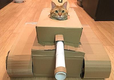 """「夫が急に作り始めた」 自宅で建造された""""猫用ダンボール戦車""""に猫ちゃんも大満足 - ねとらぼ"""