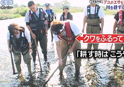 """多摩川のアユを救うため、クワをふるって19年の城島リーダーが""""川底の石の耕し方""""を市の職員に指導 #鉄腕DASH - Togetter"""