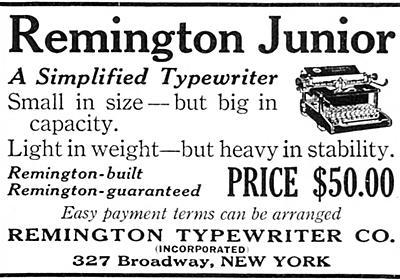 広告の中のタイプライター(56):Remington Junior | タイプライターに魅せられた男たち・補遺(安岡 孝一) | 三省堂 ことばのコラム