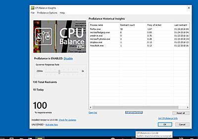 【レビュー】CPUを占有するプロセスの動作を制限してPCの応答性を改善する「CPUBalance」 - 窓の杜
