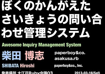 Awesome Inquiry Management System // Speaker Deck