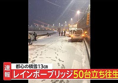 痛いニュース(ノ∀`) : 【大雪】 レインボーブリッジで車50台が立ち往生…ノーマルタイヤの車がほとんど 上下線とも通行止め - ライブドアブログ