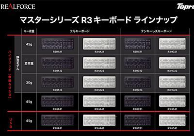 東プレが無線接続を含む第3世代「REALFORCE R3」20モデルを投入 11月1日発売