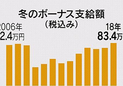 冬のボーナス、過去最高の83.4万円 本社調査  :日本経済新聞