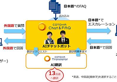 NTT Com、AIチャットボットで13言語への翻訳機能を提供 オペレーターからの回答時にも翻訳が可能 - クラウド Watch