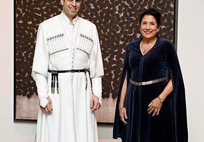 """ティムラズ レジャバ on Twitter: """"@088Machi880 こちらがアップになります。右が来日中の大統領、閣下も民族衣装風のドレスをお召しになっております。 https://t.co/K12y3aak3R"""""""