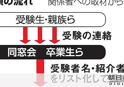 東京医科大、同窓会が合格優遇リスト ◎は「絶対頼む」:朝日新聞デジタル