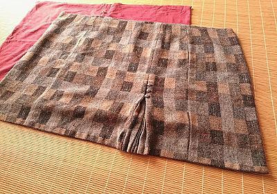 リメイクひざ掛け 母のスカートと80年前のショールを使って - ブーさんとキリンの生活