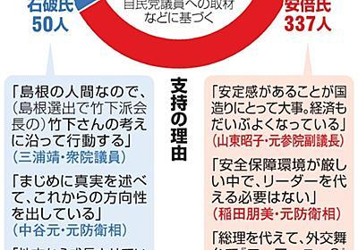 安倍一色の党内、石破支持表立っては…読み切れぬ地方票:朝日新聞デジタル