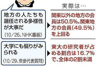 学術会議の構成、最多の東大2割未満 首相「偏り」繰り返すも地方が半数超:東京新聞 TOKYO Web