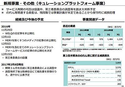 DeNA、キュレーション問題で38億円減損 「事業計画が未定」 - ITmedia NEWS
