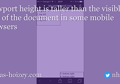 Viewport height is taller than the visible part of the document in some mobile browsers – Nicolas Hoizey