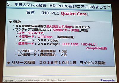 パナソニック、最大速度1Gbpsを実現する「HD-PLC Quatro Core」  - PC Watch
