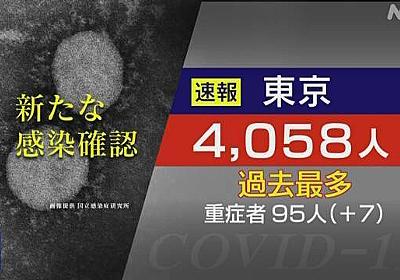 東京都 新型コロナ 4058人感染確認 過去最多 初の4000人超 | 新型コロナ 国内感染者数 | NHKニュース