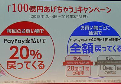 PayPay、支払額の20%+最大10万円を還元するキャンペーンを12月から実施 - ITmedia Mobile