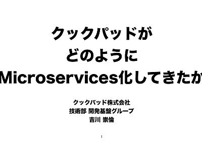 クックパッドがどのようにMicroservicesしてきたか/How Cookpad shifts to Microservices - Speaker Deck