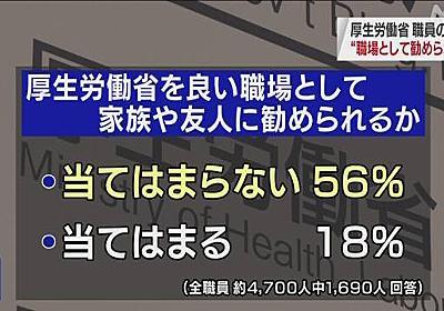 """厚労省職員アンケート 半数以上 """"良い職場と勧められない""""   働き方改革   NHKニュース"""