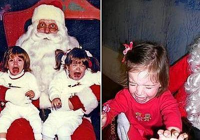 サンタクロースが怖すぎて泣き叫んでいる子供たちの写真18枚:らばQ