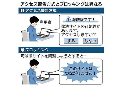 政府、海賊版視聴に警告画面 接続遮断「対策後に判断」  :日本経済新聞
