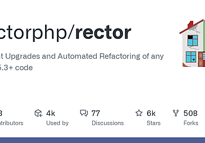 GitHub - rectorphp/rector: Instant Upgrades and Automated Refactoring of any PHP 5.3+ code
