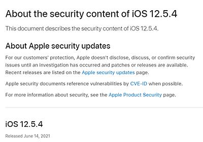アップルが旧機種向けに「iOS 12.5.4」配信、脆弱性やセキュリティ問題を解消 - ケータイ Watch