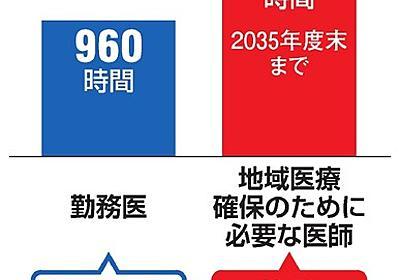 医師の残業上限、年2千時間 企業適用の2倍 厚労省案:朝日新聞デジタル