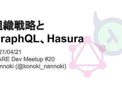 組織戦略と GraphQL、Hasura - Speaker Deck