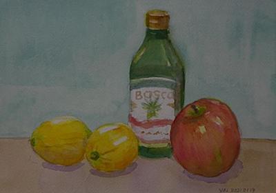 リンゴとビンとレモン - わたしの水彩スケッチと読書の旅