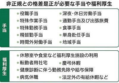 正社員の手当が消える… 非正規との格差是正へ  :日本経済新聞