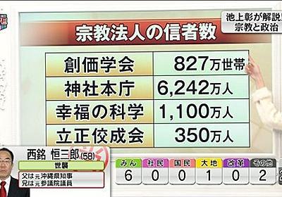 池上彰さんがテレビ東京の選挙特番でやりたい放題だと話題に : 市況かぶ全力2階建