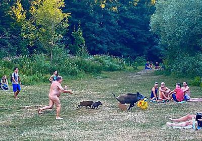 パソコン返して! 全裸でイノシシ追う男性の写真が話題 独 写真2枚 国際ニュース:AFPBB News