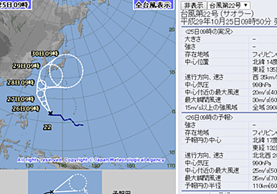上陸!?台風22号サオラー最新進路予報を米軍と気象庁をダブルチェックしよう - 50kgダイエットした港区芝浦IT社長ブログ