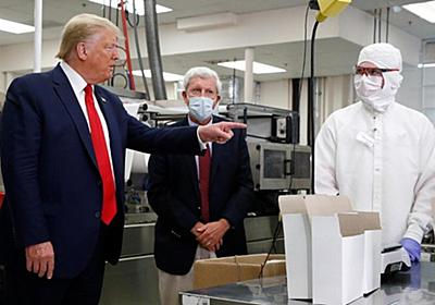 CNN.co.jp : トランプ大統領が視察した医療用綿棒を廃棄、マスクなしで工場見学