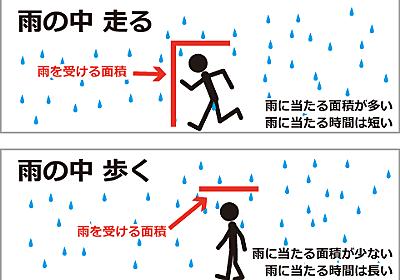 雨の中走るのと歩くのと、どっちが濡れないのだ - ぼくんちのTV 別館