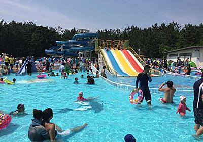 100点!?すげ~!加古川にウォータースライダーあったのね!夏場の涼を求めて、加古川浜の宮市民プール!   横尾さん!僕、泳いでますか?