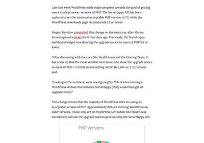 WordPress、PHPの推奨バージョンの下限を7.2に引き上げ   マイナビニュース