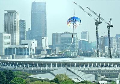涼しげな音色で酷暑乗り切れ 新国立競技場に巨大風鈴設置