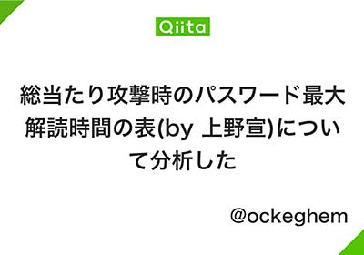 総当たり攻撃時のパスワード最大解読時間の表(by 上野宣)について分析した - Qiita