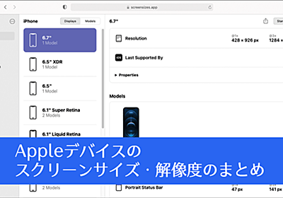 全部まとめられていて便利!iPhone, iPadなど、Appleデバイスのスクリーンサイズ・解像度のまとめ -Screen Sizes   コリス