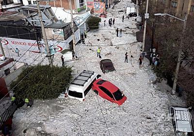 メキシコの大都市で大量のひょう 最高で2m、押し流された車も 写真15枚 国際ニュース:AFPBB News