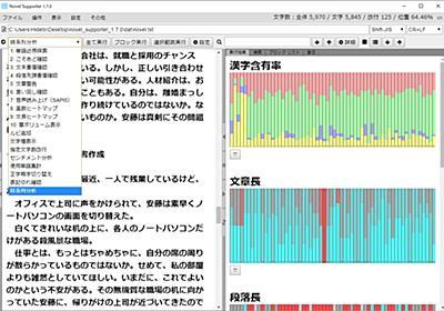 小説の推敲補助ソフト「Novel Supporter」に隠れた文章癖をあぶり出す分析機能/文字種・文章長・段落長などの推移をグラフ化